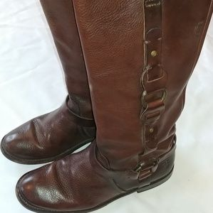 Frye Buckled Leather Harness Boots